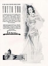 PUBBLICITA'1942 PROFUMO TUTTO TUO GI.VI.EMME CIPRIA MODA DONNA ELEGANZA BELLEZZA