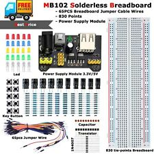 MB102 Solderless Breadboard Protoboard Set MB-102 830 Tie Point Test Circuit Kit