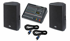 Dynacord PM600-3 powered mixer + D15-3 3-way speakers + cables NEW