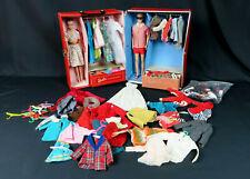 1960's Barbie & Ken Set Case Clothes Shoes Purses Accessories #5lcl