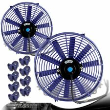 "2x Blue 14"" High Performance Electric Cooling Slim Radiator Fan For Chevrolet"