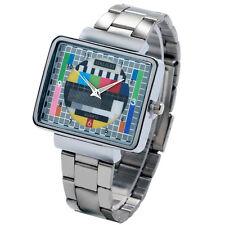 Black/Silver Stainless Steel TV Test Signal Women Men Quartz Wrist Watch Analog
