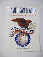 Vintage 1985 ALCS Toronto Blue Jays vs Kansas City Royals Program unscored 1717