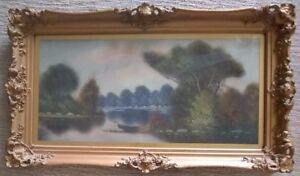William Henry Chandler (1854-1928), Lakeside Landscape Pastel in Antique Frame