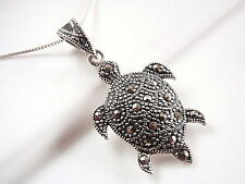 Marcasite Sea Turtle Necklace 925 Sterling Silver Corona Sun Jewelry ocean boat