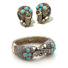 "Heidi Daus ""Queen of Siam"" Swarovski Crystal Cuff Bracelet and Earrings Elephant"