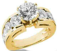 3.60 ct total Round DIAMOND Engagement Wedding 14K Yellow Gold Ring SI1 clarity