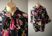Navy Blue Vintage Floral Pattern Ascot Tie Neck Top 280 mv Blouse 1XL 2XL 3XL