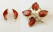 David Anderson Earrings & Aksel Holmsen Brooch Red Leaf Norway Sterling Enamel