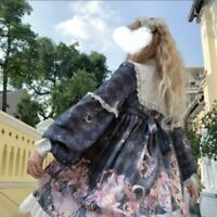Women's Lolita Printed Bowtie Falbala Long Sleeve Flared A-Line Short Dress YBWL