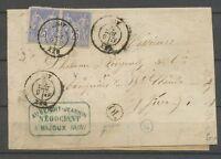 1876 Lettre Sage 50c 2*25c CAD GEX + OL de Mijoux AIN(1) TB. X3067