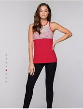 Lorna jane Harlow Red/Pink Workout Tank With Built In Bra Size XS 6-8 RRP $85.99