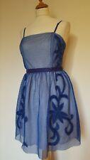 Asos NEW Skater Style Boned Dress Blue Net Overlay & Bead Detail. Size 12