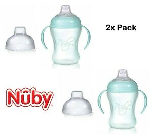 2x Pack Toddler Nuby Natural Touch Training Cup Silicone Spout 240ml Softflex 6m