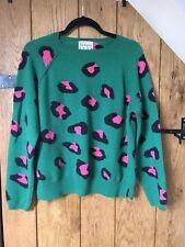 Jumper1234 Green Pink Leopard Print 100% Cashmere Jumper Size 2 RRP £215