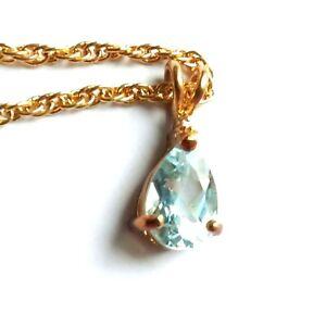 G12 Sky blue topaz gold chain necklace