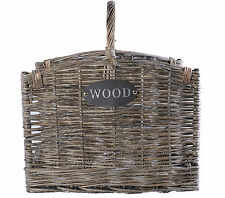 Large Grey Washed Wicker Fireside Heavy Duty Log Basket