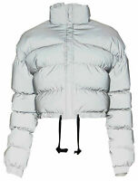 Womens Hi Visiblity Thick Padded Puffer Quilted Cropped Reflective Jacket Coat