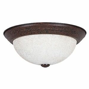 Sunset Lighting F7662-62 Rubbed Bronze Flush Mount Ceiling Light w Turismo Glass
