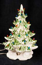 """Vtg 70's Atlantic Mold 16"""" Ceramic Musical Green White Christmas Tree SEE VIDEO"""