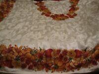 Vintage Tablecloth FALL HARVEST GOURDS PUMPKINS Colorful 82x58 Rectangular   254