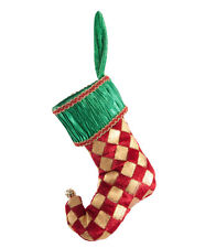 Red Gold Checked Stocking Christmas Ornament - Katherine's Collection 17-617034