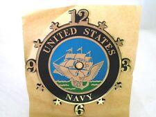 """Vintage Clock Face Us United States Navy Usn 5.5"""" Plastic Self-Stick Nos"""