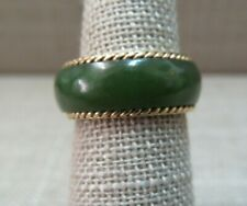 14k Yellow Gold Nephrite Green Jade Eternity Band Ring Size 5.5 / 4 Grams