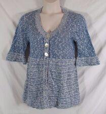 Chicos Cotton Blend Blue White Cardigan Sweater 3/4 Sleeve Lt Weight Sz 2 Medium