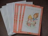 4 NU Vintage 1976 Hallmark Betsey Clark Valentine Cards + Envs Music Piano Banjo