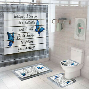 Butterfly Shower Curtain With 12 Hooks Bath Mat Bathroom Toilet Cover Rug Set