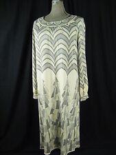 EMILIO PUCCI/SAKS 5th Ave Vtg 60s Ivory/Grey Mod Silk Jersey Dress-Bust 44/L