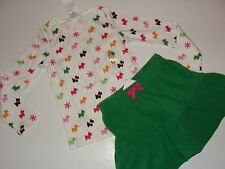 Gymboree Cheery All The Way Girls Size 3 Top Puppy Dog Green Skirt NEW NWT