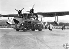 Amphibian being fueled before leaving Honolulu 1934  8 x 10 Photograph