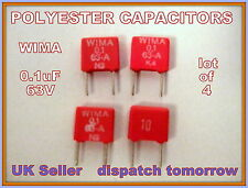 Wima Polyester Capacitors    0.1 uF      63V ******LOT OF 4********