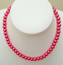 """16"""" 8mm Rose Pink Glass Pearl Necklace with Platinum Plated Lobster Clasp D1110"""