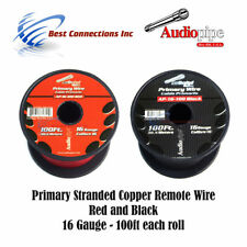 16 GAUGE WIRE RED & BLACK POWER GROUND 100 FT EACH PRIMARY STRANDED COPPER CLAD