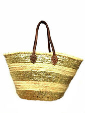 Straw & Sparkling Gold Shopping French Market Basket Moroccan Shoulder Tote XL