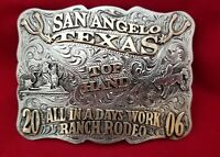 RODEO BUCKLE VINTAGE 2006 SAN ANGELO TEXAS TOP HAND Engraved Signed 712