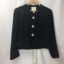 Zang Toi 100% Silk Black Shell Button Jacket Blazer Sz 4