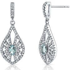 14K White Gold Aquamarine Chandelier Earrings 0.50 ct