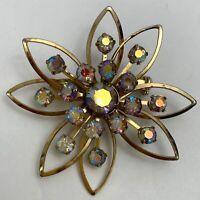 Vintage Aurora Borealis AB Rhinestone Gold Tone Flower Brooch Pin Riveted Floral