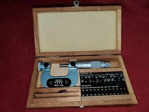 Swiss Made TESA 0-25 mm interchangeable anvil thread micrometer in case w/anvils