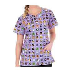 {XL} BIO Medical Uniform Scrub Vneck Top Printed Halloween