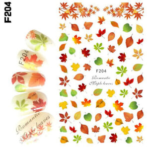 Nail Art 3D Decal Stickers Fall Green Yellow Leaves Autumn F204