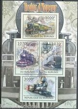 BURUNDI 2012 MNH SS, Trains, Railways, Steam Engines (T1n)