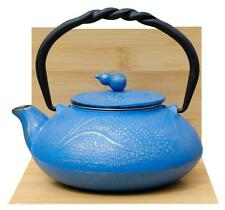 SUMMER MEADOW cast iron tea pot kettle 0.55L Azure on gold colour