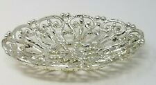 Vintage Silver Color Metal Four Foot Mesh Hollywood Soap Dish