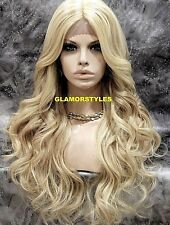 Hand Tied Monofilamet Lace Front Full Wig Long Light Blonde Mix Hair Piece NEW