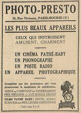 W5477 Films Pathè Baby - Photo Presto - Pubblicità 1928 - Publicitè